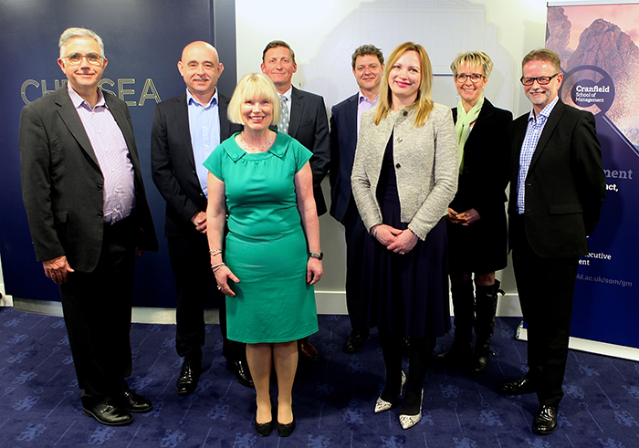 From the left: Dr Lance Moir, Cranfield School of Management; Patrick Lee, Mercuri Urval; Camilla Jonsson, Cranfield Executive Development; Mark Threlfall, Cranfield Executive Development; James Barker, Mercuri Urval; Paula Broadbent, Cranfield Executive Development; Lesley Abery, Mercuri Urval and Chris King, Mercuri Urval